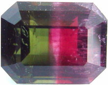 Bi-color tourmaline gemstone, exclusive loose faceted tourmalines, Madagascar gemstones shopping