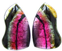 Pair Multicolour tourmaline cabochon, red green white pink Madagascar tourmaline, exclusive tourmalines, color tourmaline information data